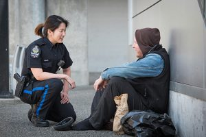 Officer with a Homeless Person
