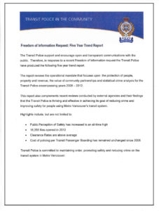 2013 Transit Police Five Year Trend Report cover lines